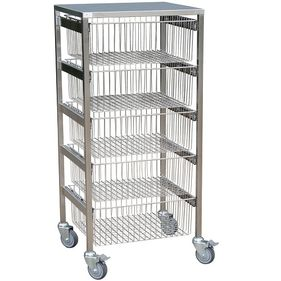 5 drawer tall sliding wire basket trolley