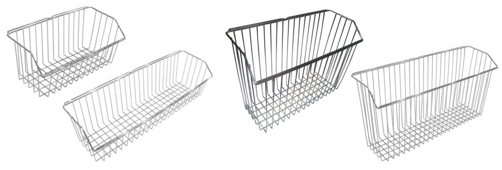 4 sizes of wire bed baskets for storage of patient belongings or files